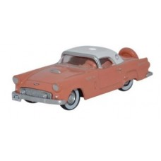 Oxford Diecast HO Scale 1956 Ford Thunderbird Sunset Coral/Colonial White