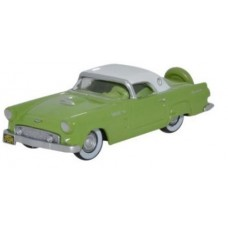 Oxford Diecast HO Scale 1956 Ford Thunderbird Sage Green/Colonial White