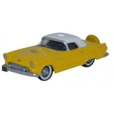 Oxford Diecast HO Scale 1956 Ford Thunderbird Goldenglow Yellow/Colonial White