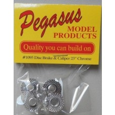 "Pegasus 1/25 Disc Brake & Caliper 23"" Chrome Plastic Model Kit Parts"