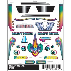 Pinecar Pinewood Derby Stick-On Decals Heavy Metal