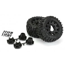"Pro-Line Trencher LP 2.8"" Mounted Tires & Raid Black Wheels (2)"