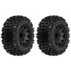 "Pro-Line Badlands 2.8"" Mounted Tires & Raid Black Wheels (2)"