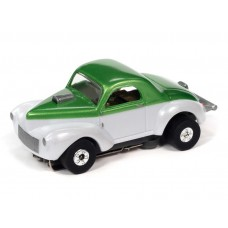 Auto World Thunderjet 1941 Willys Coupe White/Green HO Electric Slot Car