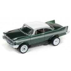 Auto World HO Slot Car 1958 Plymouth Belvedere Green