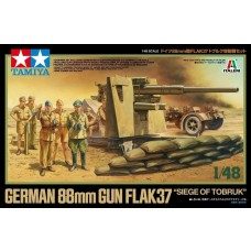 "Tamiya 1/48 German 88mm Gun Flak37 - ""Siege of Tobruk"" Plastic Model Kit"