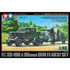 Tamiya 1/48 German Heavy Tractor SS100/Gun Flak37 Plastic Model Kit
