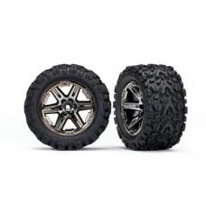 Traxxas Rustler 4x4 Mounted RXT Black Chrome Wheels / Talon Extreme Tires