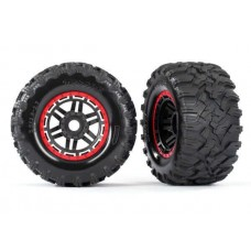 Traxxas Maxx Red Mounted Wheels & Tires 8972R