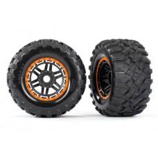 Traxxas Maxx Orange Mounted Wheels & Tires 8972T