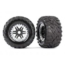 Traxxas Maxx Satin Chrome Mounted Wheels & Tires 8972X