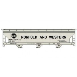 Accurail HO Scale 47' ACF 3-Bay Center Flow Covered Hopper Kit N&W #171246