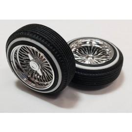 """Pegasas 1/24-1/25 """"Dz's"""" Shallow Chrome Rims & Tires Set"""