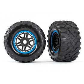 Traxxas Maxx Blue Mounted Wheels & Tires (2)