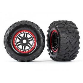 Traxxas Maxx Red Mounted Wheels & Tires (2)