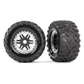 Traxxas Maxx Satin Chrome Mounted Wheels & Tires (2)